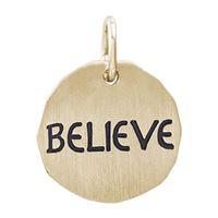 Rembrandt Believe Charm Tag Charm, Gold Plated Silver