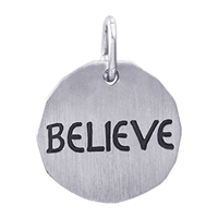 Rembrandt Believe Charm Tag Charm, Sterling Silver
