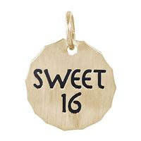 Rembrandt Sweet 16 Charm Tag Charm, Gold Plated Silver
