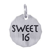 Rembrandt Sweet 16 Charm Tag Charm, Sterling Silver