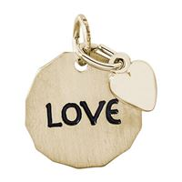 Rembrandt Love Charm Tag w/ Heart Charm, Gold Plated Silver