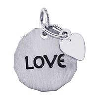 Rembrandt Love Charm Tag w/ Heart Charm, Sterling Silver