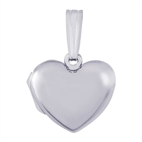 Rembrandt Plain Heart Locket Charm, Sterling Silver