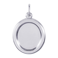 Rembrandt PhotoArt Oval Charm, 14K White Gold