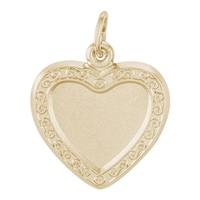 Rembrandt PhotoArt Heart Scroll Charm, Gold Plated Silver