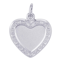 Rembrandt PhotoArt Heart Scroll Charm, 14K White Gold