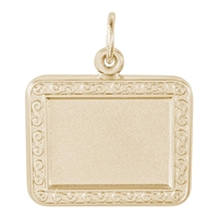 Rembrandt PhotoArt Horizontal Rectangle Scroll Charm, Gold Plated Silver