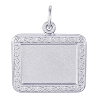 Rembrandt PhotoArt Horizontal Rectangle Scroll Charm, 14K White Gold