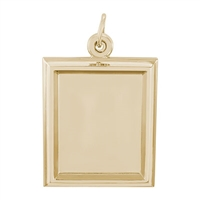 Rembrandt PhotoArt Large Rectangle Verical Charm, Gold Plated Silver