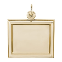 Rembrandt PhotoArt Large Rectangle Horizontal Charm, Gold Plated Silver