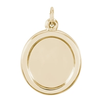 Rembrandt PhotoArt Large Oval Charm, Gold Plated Silver