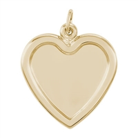 Rembrandt PhotoArt Large Heart Charm, Gold Plated Silver