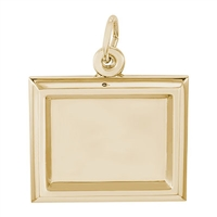 Rembrandt PhotoArt Small Rectangle Horizontal Charm, Gold Plated Silver
