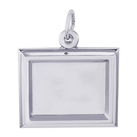 Rembrandt PhotoArt Small Rectangle Horizontal Charm, Sterling Silver