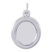 Rembrandt PhotoArt Rope Oval Charm, 14K White Gold