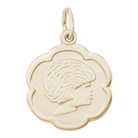 Rembrandt Girl Charm, Gold Plated Silver