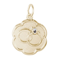 Rembrandt Wedding Rings Engravable Disc Charm, Gold Plated Silver