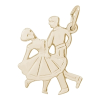Rembrandt Dancing Couple Charm, Gold Plated Silver