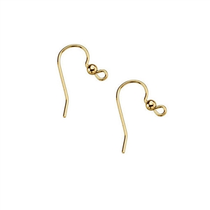 Bead Design Ear Wire (1 Pair), Gold Plated Silver