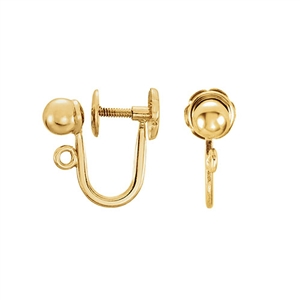 Screw Back Non-Pierced Earring, Gold Plated Silver