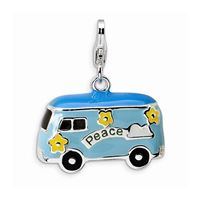 3-D Blue & Yellow Enameled Peace Bus, Sterling Silver