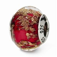 Reflections Red/Gold Italian Murano Glass Bead, Sterling Silver