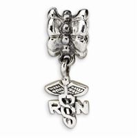 Reflections RN Nurse Symbol Dangle Bead, Sterling Silver