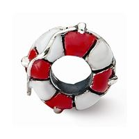Reflections Enameled Life Preserver Bead, Sterling Silver