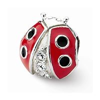 Reflections Ladybug w/Swarovski Bead, Sterling Silver