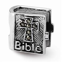 Reflections Marcasite Cross Bible Bead, Sterling Silver