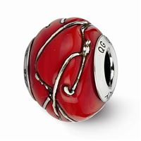 Reflections Red/Silver Striped Italian Murano Glass Bead, Sterling Silver