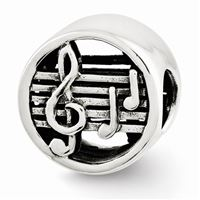 Reflections Music Notes & Staff Bead, Sterling Silver
