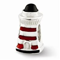 Reflections Enameled Lighthouse Bead, Sterling Silver