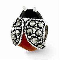 Reflections Enameled & Marcasite Ladybug Bead, Sterling Silver