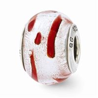 Reflections Silver/Red Italian Murano Glass Bead, Sterling Silver
