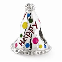 Reflections Enameled Happy Birthday Hat Bead, Sterling Silver
