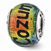 Reflections Cozumel Orange Dichroic Glass Bead, Sterling Silver