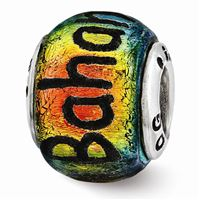 Reflections Bahama Orange Dichroic Glass Bead, Sterling Silver