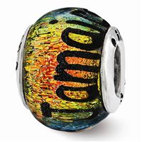 Reflections Jamaica Orange Dichroic Glass Bead, Sterling Silver