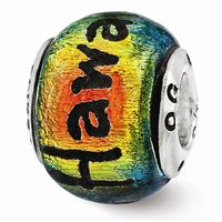 Reflections Hawaii Orange Dichroic Glass Bead, Sterling Silver