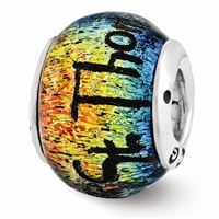 Reflections St Thomas Orange Dichroic Glass Bead, Sterling Silver