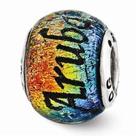 Reflections Aruba Orange Dichroic Glass Bead, Sterling Silver