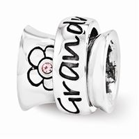 Reflections Swarovski Grandmother Spinner Bead, Sterling Silver
