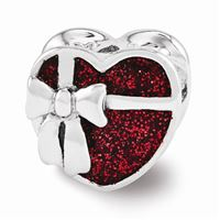 Reflections Red Enameled Heart Bead, Sterling Silver