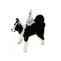 Border Collie Dog Charm, Sterling Silver