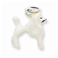 Poodle Dog White Charm, Sterling Silver