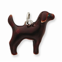 Labrador Retriever Chocolate Dog Charm, Sterling Silver
