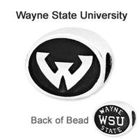 Wayne State University Collegiate Bead Sterling Silver