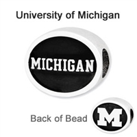 University of Michigan Collegiate Bead Sterling Silver