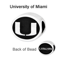 University of Miami Collegiate Bead Sterling Silver